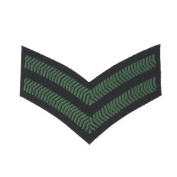 2 Bar Chevrons Corporal – Service Stripe – Royal Irish Regiment - British Army Badge